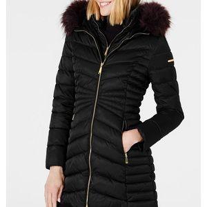 Laundry Shelli Segal Puffer Jacket Hooded Faux Fur